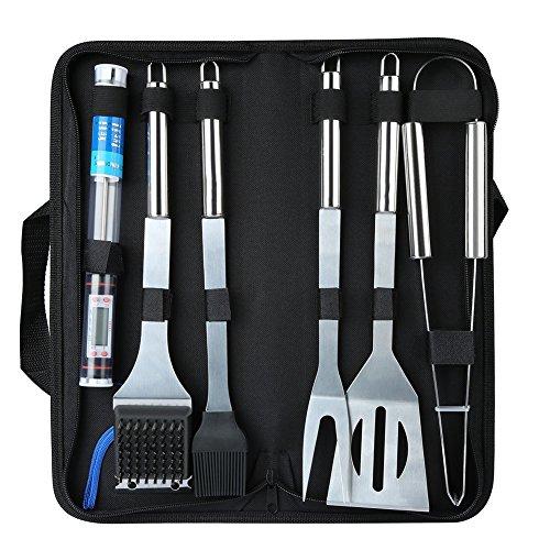 Weimi set di utensili per barbecue a 6 pezzi set di utensili per grigliati in acciaio inox con accessori grigliati premium per barbecue