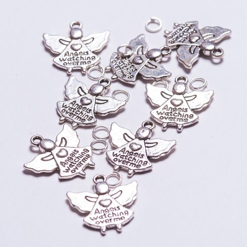 8-x-tibetan-style-antique-silver-colour-angel-charms-with-free-attachment-rings-included