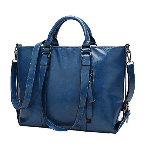 Auspicious beginning Frauen einfache Vintage Leder Volltonfarbe einzelne Schulter zwei Totes Bag Blau