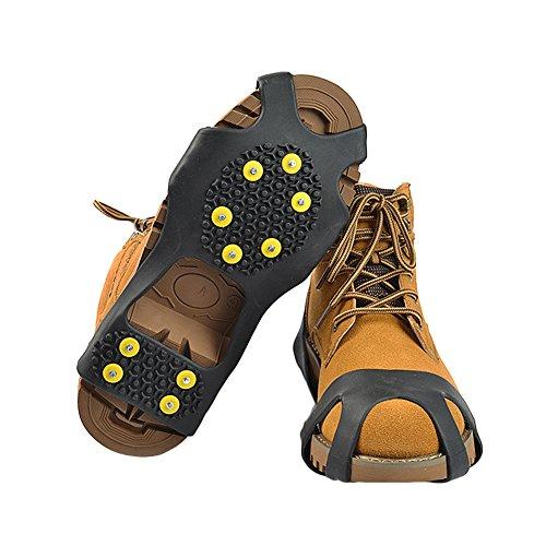 Leoie LinTimes 10 Stahlnieten Ice Cleats EIS & Schnee Griffe über Schuh/Boot Zugkraft Cleat Rubber Spikes Anti Easy Slip auf XL L -