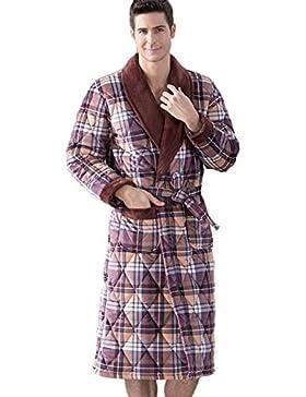 DMMSS Gli uomini ispessiti laminato cotone pigiama di flanella accappatoi Coral velluto camicia da notte , xl