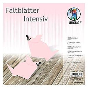 Ursus 3145129 - Hojas Plegables (100 Unidades, 65 g/m², 20 x 20 cm, para Artistas de Origami, teñidas en Colores intensos), Color Rosa