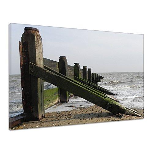 Zaun Meer Strand Verteidigung Gezeiten Sand Leinwand Poster Druck Bild aa2162 - Zaun Verteidigung