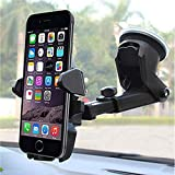 Mobias Retails Long Neck Mobile Holder Mount with 360 Degree Rotation and Ultimate Reusable Suction Cup for Car Dashboard/Windshield (Black)