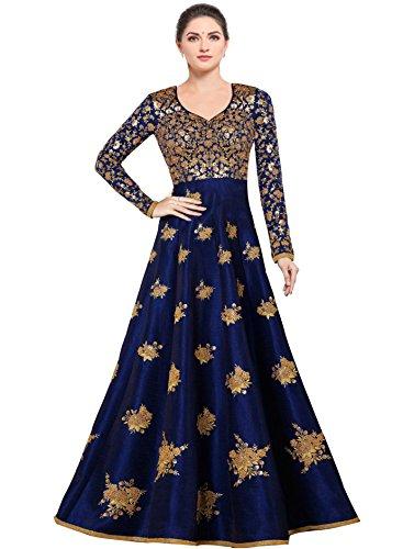 Siddeshwary Fab Women's Bangalore Silk Anarkali Gown (Free size_ semi stitched Navy Blue)