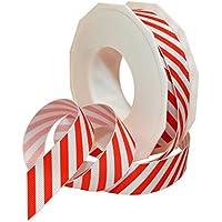 Morex Ribbon 80605/20-609 Candy Cane Stripes Grosgrain Ribbon, 7/8-Inch by 20-Yard, Red by Morex Ribbon