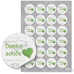 48Dankeschön Danke verde blanco corazón lunares etiqueta redonda decorativa del paquete Regalos boda Comunión Cumpleaños fijo regalo decorativo para etiquetas Color Verde Claro
