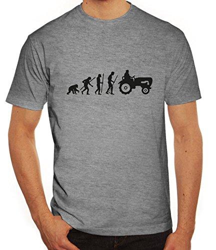 Lustiges Herren T-Shirt Evolution Traktor, Größe: M,graumeliert