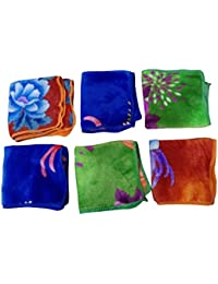 Multi color Silky Very Soft Love Touch Womens & Girls Face Hanky, Face Towels Size :25*25 set of 6 By Haryana Crfat