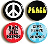 """4 x """"PEACE"""" SIXTIES BADGES BUTTONS PIN (1inch/25mm diameter) ANTI WAR PROTEST"""