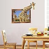 Cortina Giraffe in Window 3D Theme Wall Sticker (Vinyl, 46 cm x 5 cm x 5 cm, BI-SK9139)