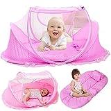 Kidsidol 4pcs Baby Moskitonetz, bett Zelt, Tragbare Art Komfortabel Versiegelt Moskitonetz mit Matratze Kissen Netztasche Geeignet für Schlafzimmer Home Outdoor-Reisen (Rosa)