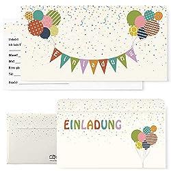 Postkartenschmiede 12 Einladungskarten Kindergeburtstag mit Luftballons - Einladungen Geburtstag Jungen Mädchen mit Umschlägen - Einladungskarten Kinder (bunt)