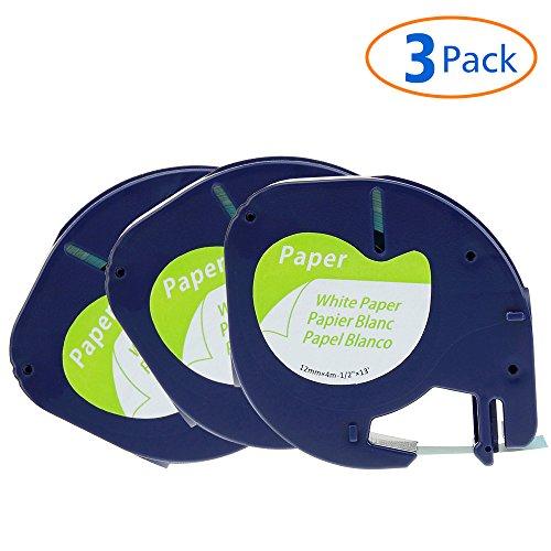 Aken Kompatibel Papier Etikettenband Ersatz für Dymo LetraTag 10697 S0721520 Papierband (Schwarz auf Weiß,Selbstklebendes,12mm x 4m, 3-Pack)