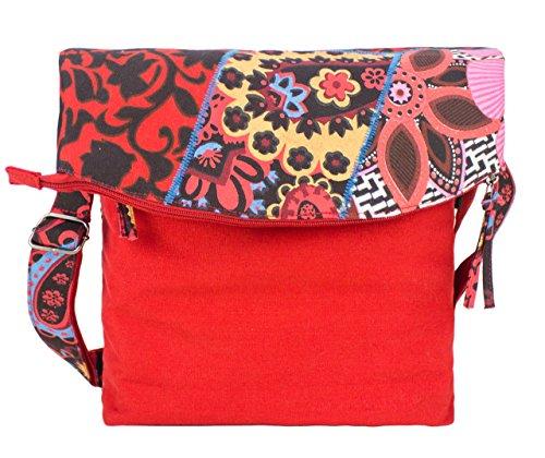 Sunsa Umhängetasche, Borsa a tracolla donna Multicolore multicolore Größe circa 30x37-50x8 cm, blu (Multicolore) - 51120 rosso