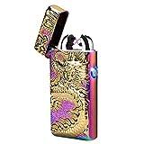 Kivors accendino USB ricaricabile antivento senza fiamma elettronico Pulse double ARC accendino credenza Loong drago cinese