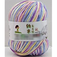 HuaYang Mixed Color Needlecraft Fibroin Wool Yarn Smooth Worsted Soft Silk Baby Wool Fiber(1Pcs: Yellow_Purple_Blue) by HuaYang