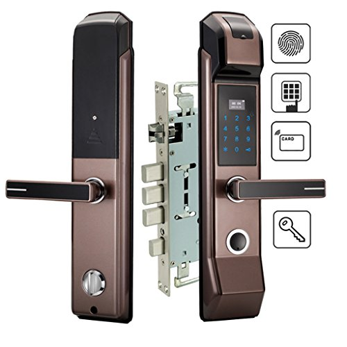 Nwn Sicherheit Elektronische Fingerabdruck Türschloss Digitale Keyless Keypad Kombination Karte Schlüssel Smart Entry für Home Office (Farbe : Right Handle)