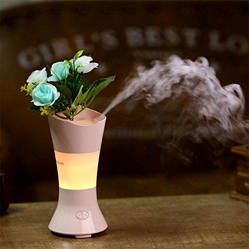 SUNWUKONG 100ml Vase Aromatherapie Ätherisches Öl Diffusor, Luftbefeuchter Duftöldiffusoren mit Einstellbar Nebel Modus, Bunt Nacht Licht zum Zuhause Büro Baby Yoga, Blue (Vase Diffusor)