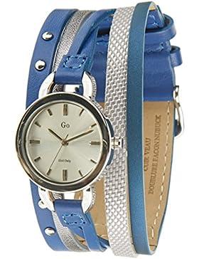Go Girl Only Damen-Armbanduhr 698554–Quarz–Analog Zifferblatt Silber Armband Leder Blau