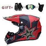 Yedina Adult Motocross Helmet ATV Roller Offroad Helm D.O.T zertifizierte Geschenkhandschuhe Maskenbrillen (S, M, L, XL),S