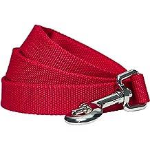 Umi. by Amazon - Robuste, klassische, einfarbige Hundeleine 150 cm x 2 cm in Rot, Medium, einfache Hundeleine