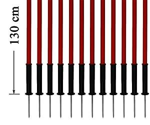 agility sport pour chiens - lot de 12 piquets de slalom, rouge - 130 cm x Ø 25 mm avec des ressorts flexibles en métal - contient également un sac pratique