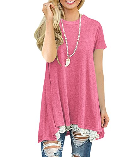 NICIAS Damen Sommer T-Shirt Kurzarm Rundhalsausschnitt Spitze Tunika Tops Lässige Oberteil Bluse Shirt Rosa,XXL