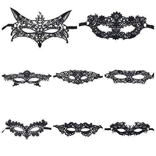 RXBC2011 8PCS Lace Ball Maske, Sexy Half Lace Maske Venedig Black Women Masquerade Masken für Halloween Karneval Party Kostüm Ball Set