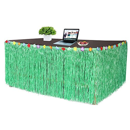 Hibiscus Grün String Bunte Silk Faux-Tropische Blumen Tabelle Hula Gras Rock für ()