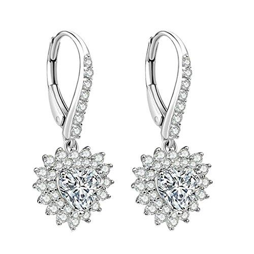 AMDXD 925 Sterling Silber Damen Ohrringe Blume Herz Zirkonia Maßgeschneidert Ohrhänger 6x6MM