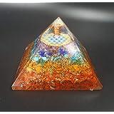 Pirámide Orgonita 7x7cm Feng Shui y Flor de la Vida Lapislázuli Cuarzo Blanco Cuarzo Rosa Piedra Luna Ojo Tigre Amatista Shun