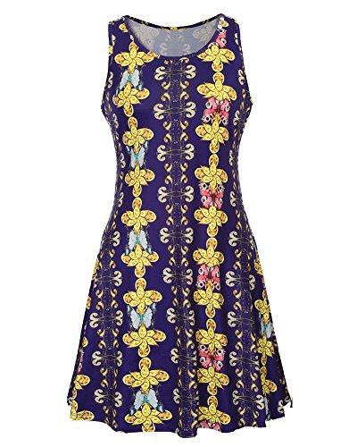 Femmes Sans Manches Imprimé Hors L'épaule Lâche Mini Robe 619 Dark Purple