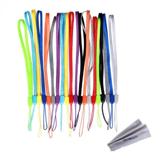 Bundle 20Stück Colorful Hand Handgelenk/Hals Lanyards/Straps/Saiten Pack für USB-Stick, Schlüssel, Schlüsselanhänger, ID Namensschild Ausweishalter, Video, Spiel (Leder-schlüssel-schlaufe Schwarze)