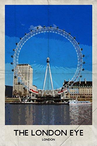 London Eye Retro Poster Grußkarte