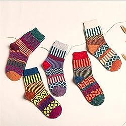 YANSHG® 5 pares mujeres Lana Cashmere caliente calcetín suave gruesa casual multicolor retro vintage calcetines regalo de Navidad