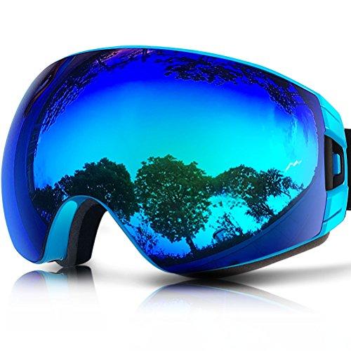 ZIONOR Lagopus X7 Skibrille mit Schnelle Lens-Wechsel UV400 Schutz Anti Nebel Weit Sphärische PC Linse Anti-Rutsch Bügel Helm Kompatibel Erwachsene Snowboard Skating Skibrille