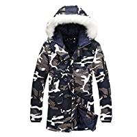 Zhuhaixmy Men Camouflage Warm Hooded Long Coat Fur Collar Jacket Outwear Parka Overcoat Plus Size