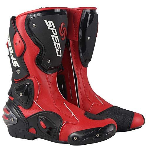MERRYHE Männer Pro Motorradstiefel Wasserdichte Off-Road Racing Gepanzerte Stiefel Motocross-Schutz Schuhe Cruiser Kalb Boot,Red-45 -