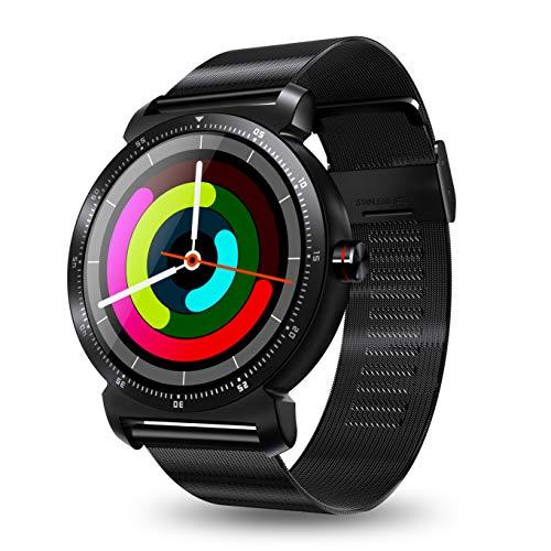 ZMJY Intelligente Uhr, wasserdichter Sport-Tracker-Fitness-Tracker mit Schlafüberwachung, Herzfrequenz- und Blutdruck-Tracker und Remote-Kamera,Black,Metal Black-metal-kamera