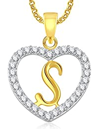 Meenaz Jewellery Gold Plated 's' Letter Pendant For Girls Women Men Unisex With Chain In American Diamond Pendant For Women
