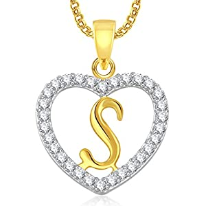 MEENAZ Jewellery 'S' Letter Alphabet Pendant Pendants for Girls Women Men Boys with Chain in American Diamond -PS 410