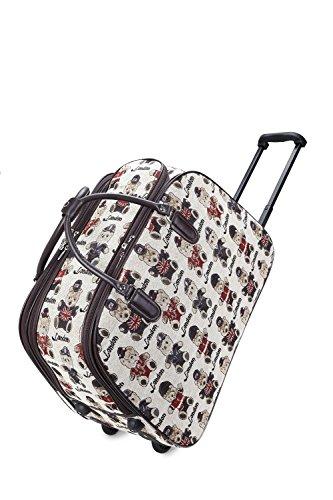 LeahWard® Große Größe Reisetasche Gepäck Reisetasche mit Rad Kabine Hand Taschengage Gym UrlaubWagen Koffer LONDON BEAR Weiß