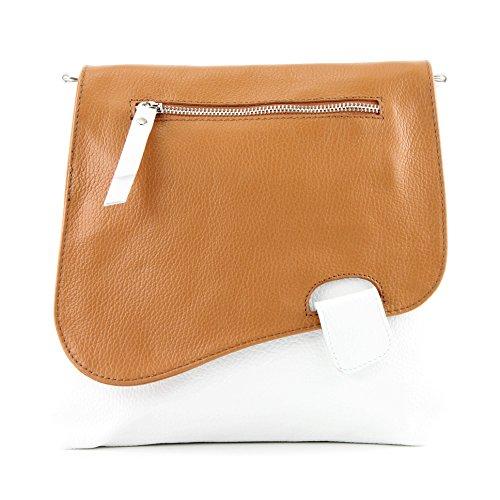 modamoda de -. cuoio ital Borsa da donna Messenger bag borsa a tracolla in pelle borsa NT07 2in1 Weiß/Camel