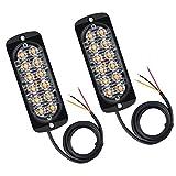 Justech 2 x 12 LED Lampeggiante Emergenza Avvertimento Luci Ambra Arancione Anteriore Strobo Lampeggiante Recupero Ripartizione Beacon Light bar 12V 24V Universale per Auto Camion Rimorchio Trattore