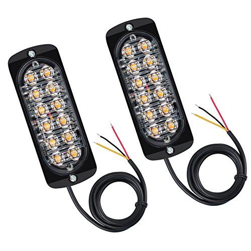 Justech 2 x Frontblitzer Orange 24 LED Strobo Blitzer Leuchte Stroboskop Warnlicht Notfall Licht für Auto LKW Wohnwagen Anhänger Wohnmobil (Orange-licht-auto)