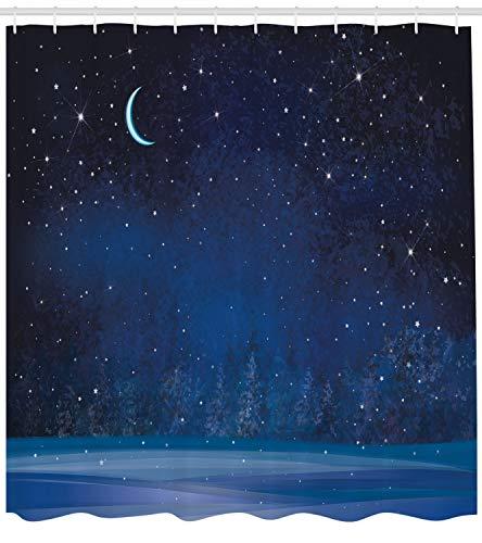 hvorhang, Snowy Winter Wunderland, mit 12 Ringe Set Wasserdicht Stielvoll Modern Farbfest und Schimmel Resistent, 175x220 cm, Indigo Blau ()