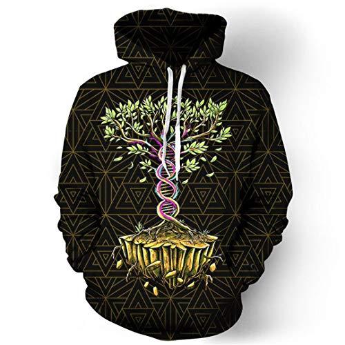 (Männer Lebensbaum 3D Print Langarm Lässige Hoody Pullover Sweatshirts Hip Hop Fitness Hoodie Skull Hoodie S)