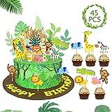 SPECOOL Toppers Cupcake Animali della Giungla Decorazioni Torte Cupcake Topper per Bambini Compleanno Safari Animal Jungle Tema Forniture per Feste