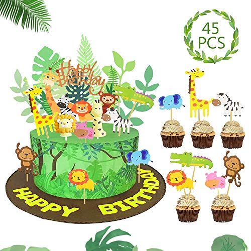 SPECOOL Dschungel Tier Kuchendeckel Topper für Kinder Tortendeko Geburtstag Urwald Party Jungen Kinder Geburtstag Kinderzimmer Kindergarten Dekoration Safari Tier Dschungel Thema Partyzubehör